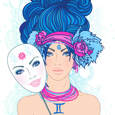 fake smile: Illustration of gemini zodiac sign as a beautiful girl. Vector. (Young woman with sad expression holding a mask expressing cheerfulness)