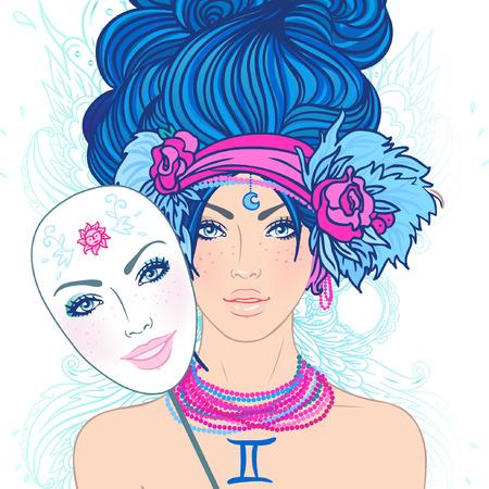 Ilustración de signo del zodiaco géminis como una muchacha hermosa. Vector. (Mujer joven con expresión triste la celebración de una alegría que expresa la máscara)