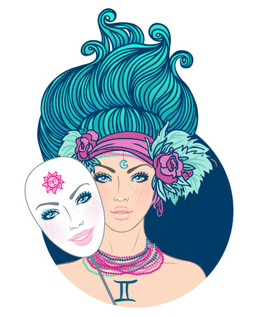 Illustration of gemini zodiac sign as a beautiful girl. Vector. (Young woman with sad expression holding a mask expressing cheerfulness) Vector