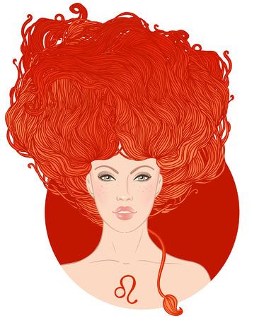 Ilustración de signo del zodiaco leo como una muchacha hermosa. Ilustración del vector. Aislado en blanco.