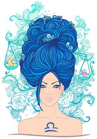 Illustration of libra zodiac sign as a beautiful girl. Vector illustration. Vector
