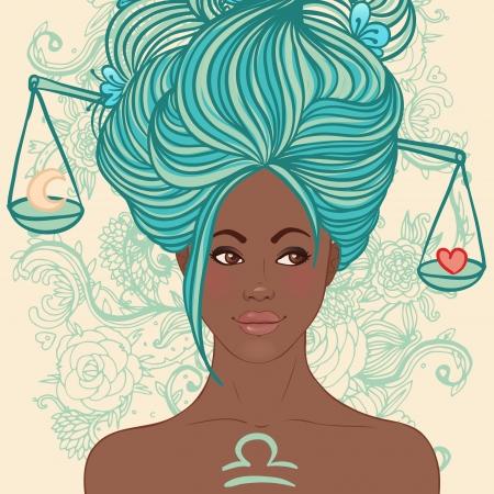 libra: Zodiac beautiful girls set (African American version). Libra.  Illustration
