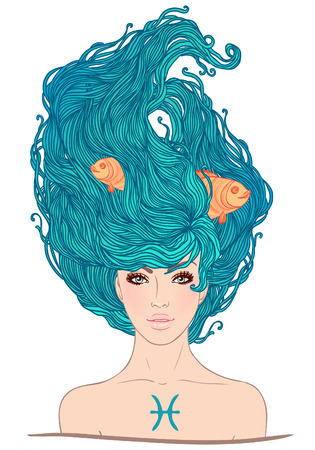 Illustration of Pisces astrological sign as a beautiful girl. Vector.  Illustration