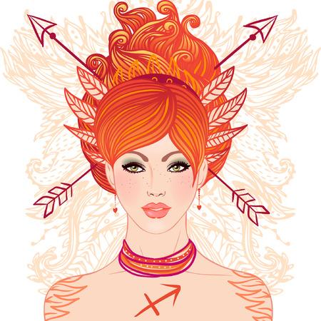 sagitario: Signo astrológico de Sagitario como una muchacha hermosa. Ilustración del vector.