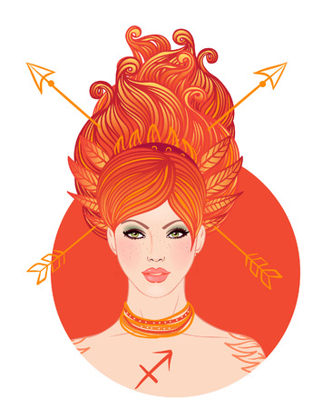 Sagittarius astrological sign as a beautiful girl. Vector illustration isolated on white.  Vector