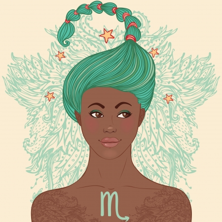 Zodiac beautiful girls set (African American version). Scorpio.  Vector