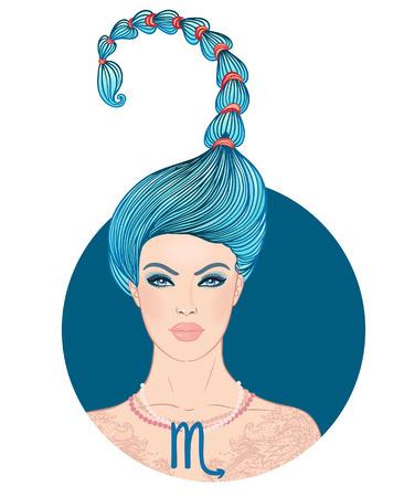 Illustration of Scorpio zodiac sign as a beautiful girl. Vector illustration.