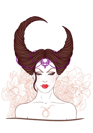 taurus sign: Illustration of taurus astrological sign as a beautiful girl. Vector.