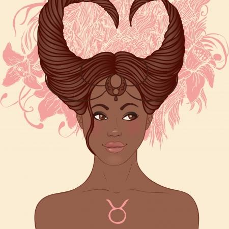 Zodiac beautiful girls set (African American version). Taurus.