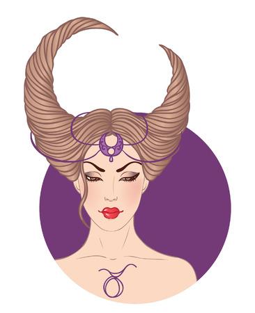 Illustration de signe astrologique taureau comme une belle fille. Vector. Banque d'images - 24674906