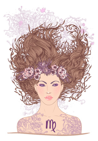 llustration of virgo astrological sign as a beautiful girl. Vector art.