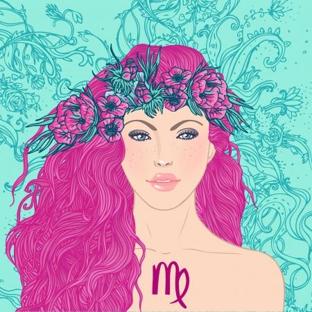 Illustratie van virgo astrologisch teken als een mooi meisje. Vector art. Stock Illustratie