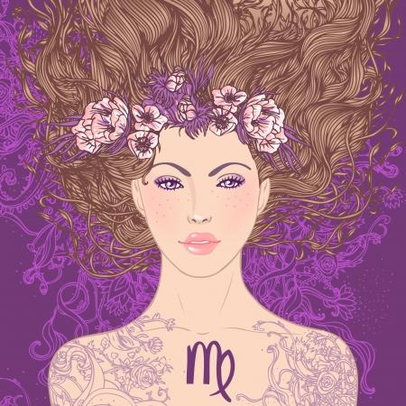 virgo: Ilustración de Virgo signo astrológico como una muchacha hermosa. Vector el arte. Vectores