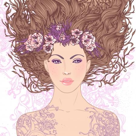 retratos: Ilustra��o da Virgem signo astrol�gico como uma menina bonita. Arte do vetor .. Isolado no branco. Ilustra��o