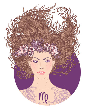 Illustration of Virgo astrological sign as a beautiful girl. Vector art.. Isolated on white.  Illustration