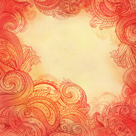 Paisley watercolor patterned frame, trendy modern wallpaper or textile  background  photo