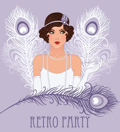 flapper: Chica de la aleta: Diseño retro de la invitación del partido. Ilustración del vector.