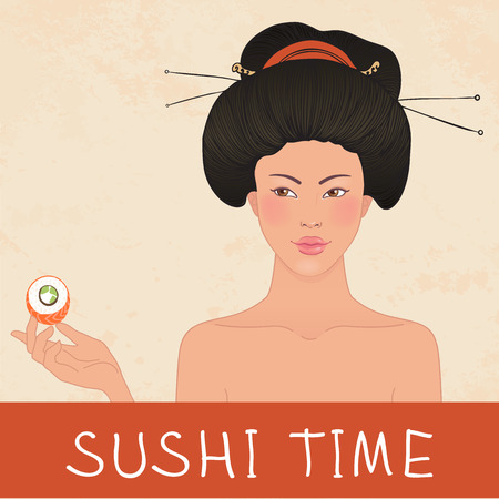 susi: Beautiful traditional Japanese young woman enjoys sushi roll (seafood party invitation)