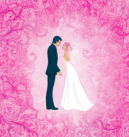 Pink wedding background with couple and flowers, vector illustration illustration
