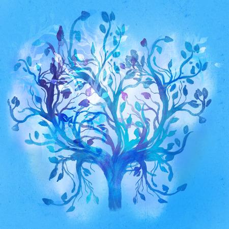 Blue winter tree with swirls isolated on white background.  illustration.  illustration