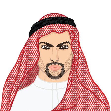keffiyeh: Vector illustration portrait of a arab man in keffiyeh isolated on white. Illustration