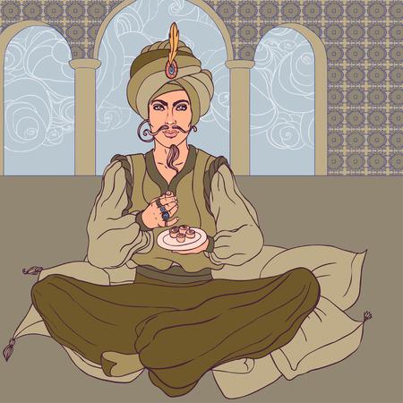 Fairy tale sultan: Arab men in oriental costume enjoying east sweets Vector