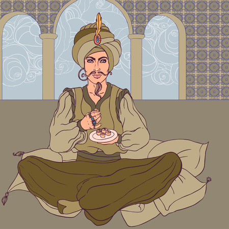 jinn: Fairy tale sultan: Arab men in oriental costume enjoying east sweets