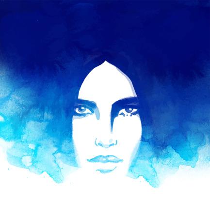 portrait: Amazing watercolor portrait of beautiful women. Fashion illustration.