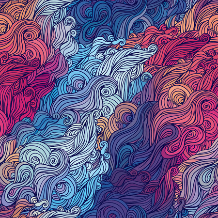 sea grass: Vector color abstract hand-drawn hair pattern with waves and clouds. Asian style element for design.