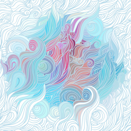 Vector color abstract hand-drawn hair pattern with waves and clouds. Asian style element for design.