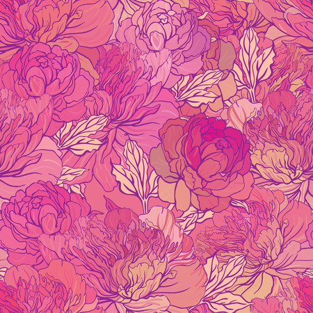 Beautiful peony bouquet design on beige background. Hand drawn vector illustration. 일러스트