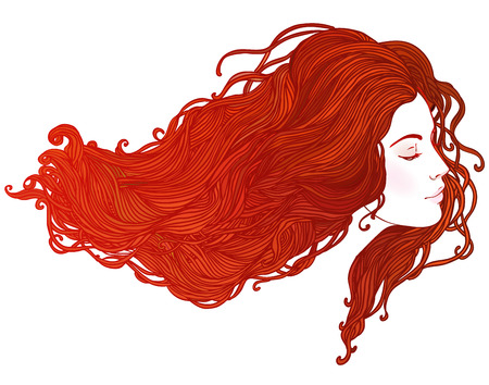 Beauty Salon: Portrait of pretty young woman in profile view with long beautiful red hair. Vector illustration Illustration