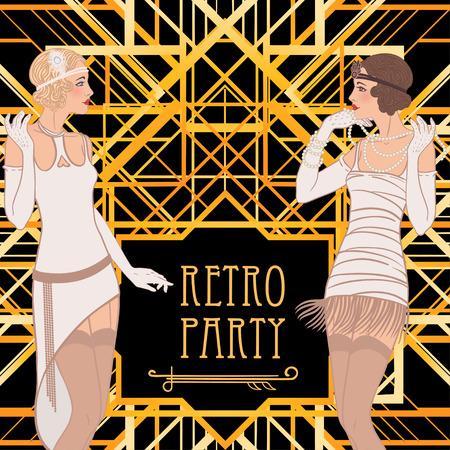 Flapper girl: Retro party invitation design. Vector illustration. Illustration