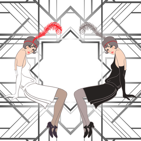 Flapper girl: Retro party invitation design. Vector illustration. Çizim