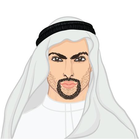 sheik: Vector illustration portrait of a arab man in keffiyeh isolated on white. Illustration