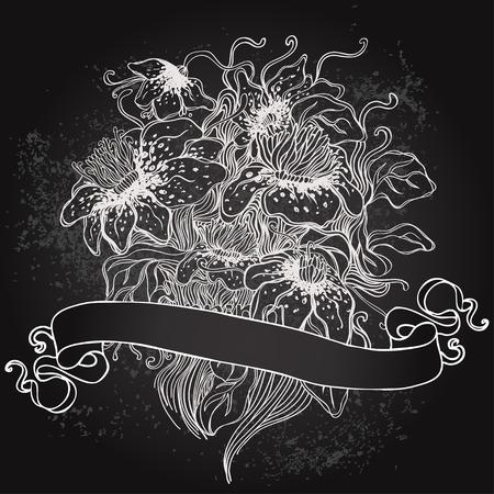 coffeehouse: Vector illustration of floral design on blackboard. Stylish concept decoration for a restaurant, coffeehouse, coffee shop menu, wedding invitation