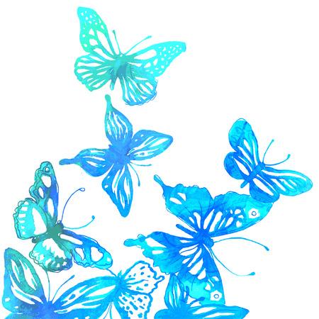 mariposas volando: Fondo colorido increíble con mariposas pintadas con acuarelas (ilustración vectorial)