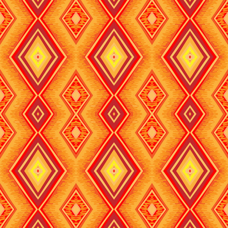 60s fashion: Ethnic zigzag pattern in retro colors, aztec style seamless vector background Illustration