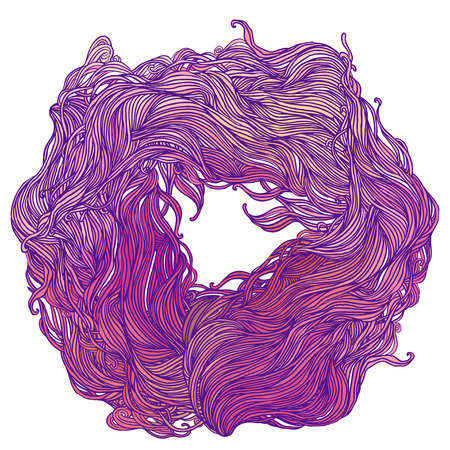 Vector color abstract hand-drawn hair pattern frame with waves and clouds
