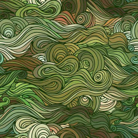 Vector color abstract hand-drawn hair pattern with waves and clouds. Asian style element for design. Vector