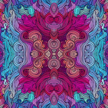 asian style: Vector color abstract hand-drawn hair pattern with waves and clouds. Asian style element for design.