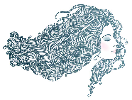 Beauty Salon: Portrait of pretty young woman in profile view with long beautiful red hair. Vector illustration 일러스트