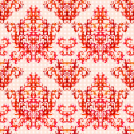 red stitches: Color vector seamless pattern with flowers with traditional embroidery elements