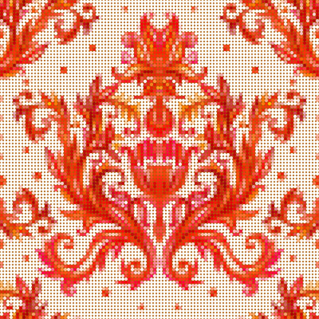 cross stitch: Color vector seamless pattern with flowers with traditional embroidery elements