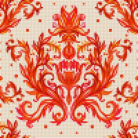 punto cruz: Color vector sin patrón con flores con elementos tradicionales de bordado