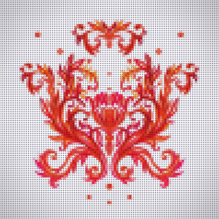 embroider: Color vector seamless pattern with flowers with traditional embroidery elements