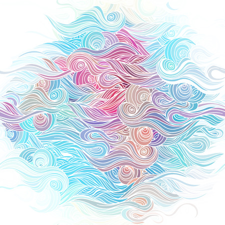 sea waves: Vector color abstract hand-drawn pattern with waves and clouds