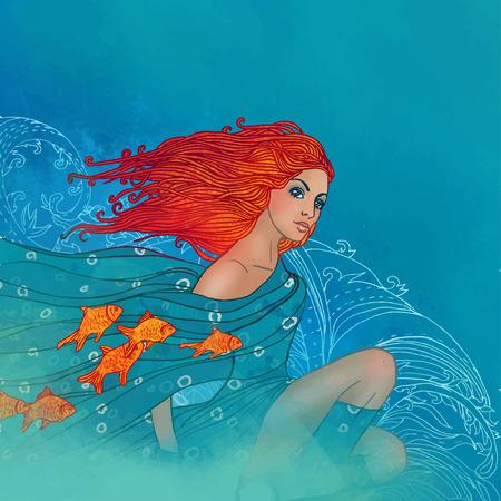그녀의 스카프에 물고기와 함께 아름 다운 여자로 물고기 자리 별자리의 그림