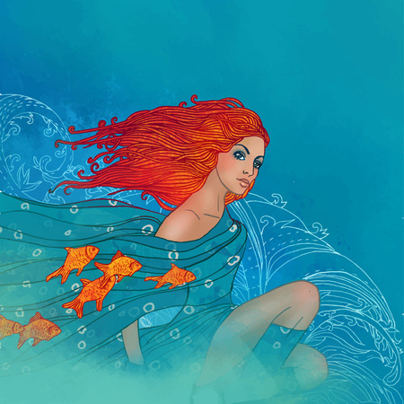 Illustration of Pisces zodiac sign as a beautiful girl with fishes on her scarf