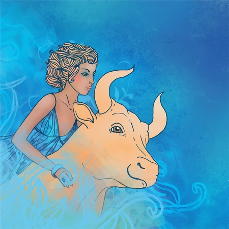 Watercolor illustration of Taurus zodiac sign as a beautiful girl with a bull. Vector version. Illustration